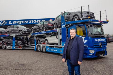 Effizient unterwegs, flexibel im Aufbau: neuer Mercedes-Benz Actros erstmals als offener Autotransporter Foto: Franz Birgmann, Prokurist und Fuhrparkleiter Lagermax Autotransport GmbH in Salzburg.