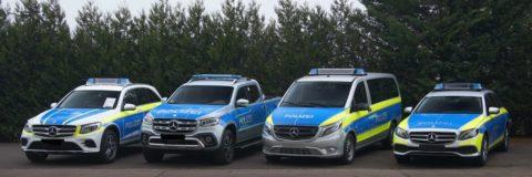 Mit Sicherheit fit für die Zukunft: Mercedes-Benz auf der GPEC 2020 Foto (v.l.n.r.): GLC, X-Klasse, Vito Tourer und E-Klasse T-Modell in Polizeioptik