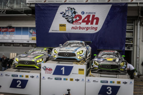 Jubiläum: Zehn Jahre Mercedes-AMG Customer Racing - GT-Erfolge made in Affalterbach Foto: Podium 24h-Rennen Nürburgring 2016