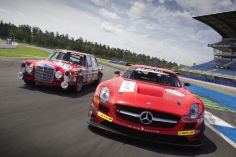 Jubiläum: Zehn Jahre Mercedes-AMG Customer Racing - GT-Erfolge made in Affalterbach Foto: AMG 300 SEL 6.8 (links) und der SLS AMG GT3