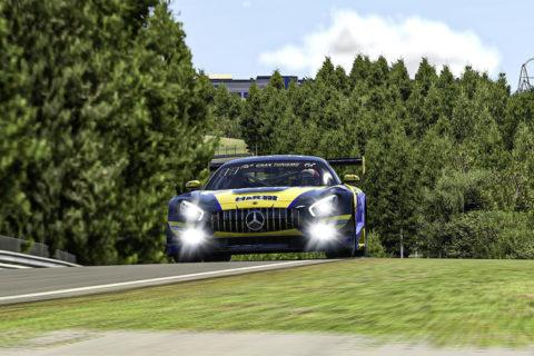 Der Mercedes-AMG GT3 startet virtuell weiter durch Foto: Adrenalin eMotorsport, Mercedes-AMG GT3 #122, Digitale Nürburgring Langstrecken-Serie