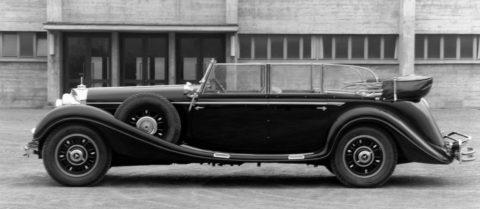 """Rollende Pracht: Der Repräsentationswagen Typ """"Großer Mercedes""""Foto: Cabriolet F aus dem Jahr 1936 mit integriertem Kofferraum"""