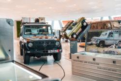 """Das Mercedes-Benz Museum ist wieder geöffnet Foto: Die Sonderausstellung """"G-Schichten. 40 Jahre G-Klasse ist bis Ende September 2020 im Mercedes-Benz Museum zu sehen."""